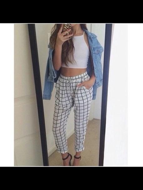 pants checkered pants