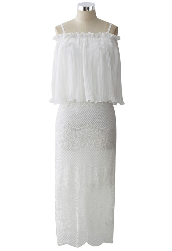 top chicwish delicate lace cami dress pleated chiffon top