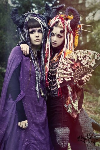 hair accessory horns dreads colorful wig make-up black red purple orange blue
