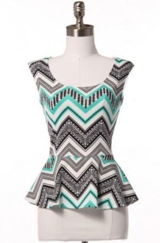 turquoise pattern cap sleeve peplum top