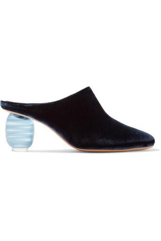 mules blue velvet shoes