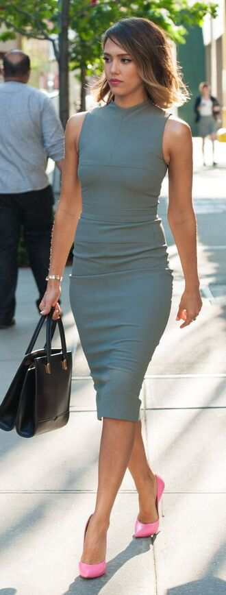 dress work fashion work outfits pink pumps grey dress formal bodycon bodycon dress black hangbag court shoes jessica alba office outfits