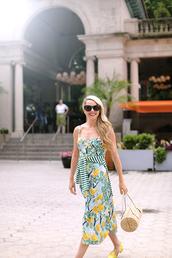 dress,tumblr,floral,floral dress,bag,sunglasses,shoes,flats