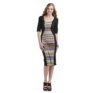 Bongo Junior's Curve Panel Midi Dress - Neon Tribal Print - Clothing - Juniors - Dresses