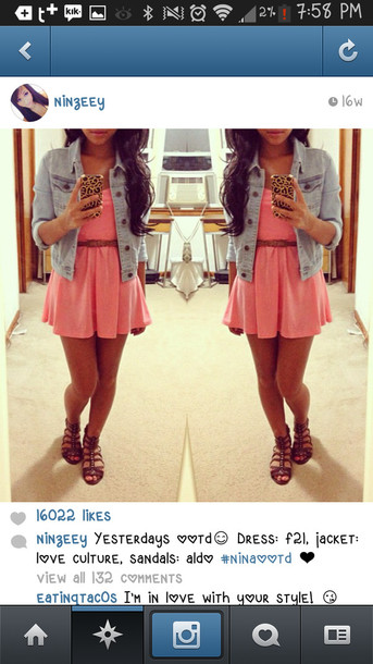 dress pink dress brown belt denim jacket shoes