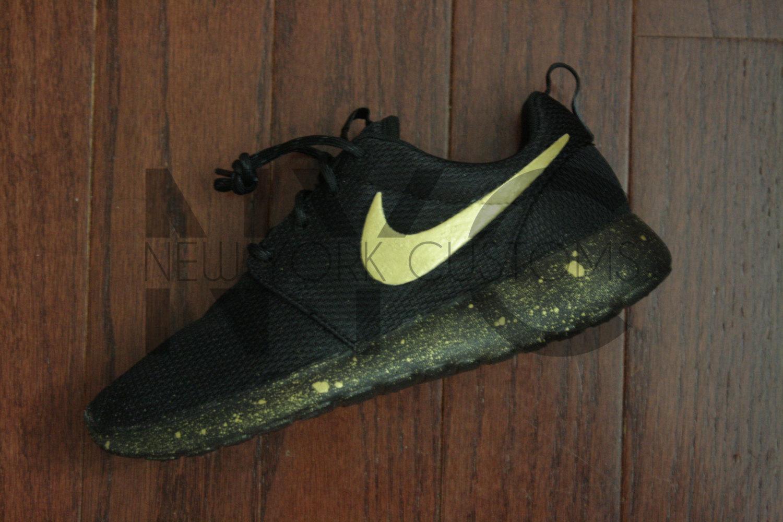 online retailer fedcf 6d30e Nike Roshe One Run Black Gold Splatter Custom Women   Men
