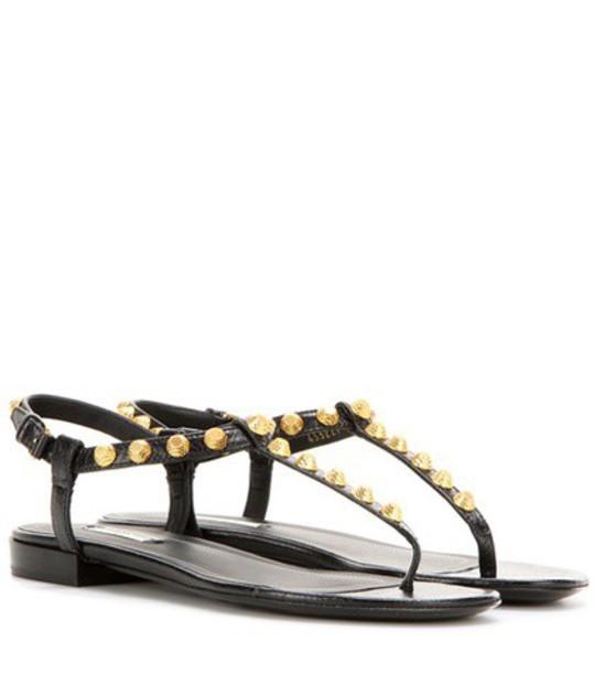 Balenciaga sandals leather sandals leather black shoes