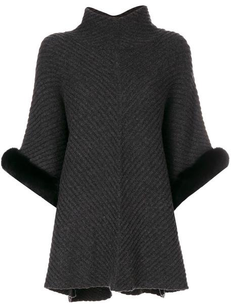 N.Peal poncho fur women grey top