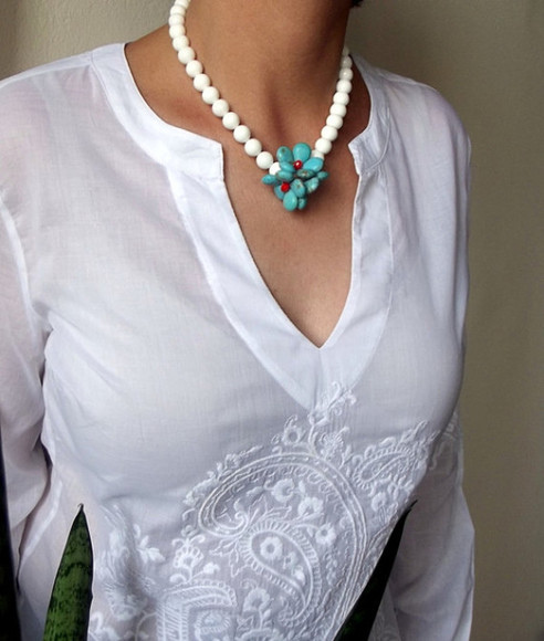 gift jewels necklace turquoise white womens accessories shell necklace gift idea