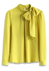 top,kiss me bow top in mustard,chicwish,bow top,mustardop  t