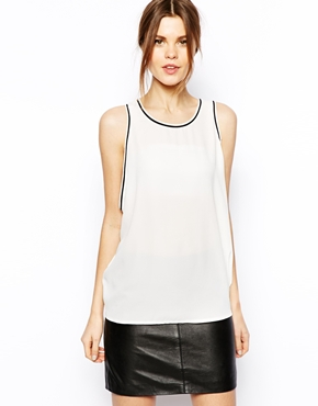 ASOS | ASOS Drop Armhole Vest with Contrast Piping at ASOS