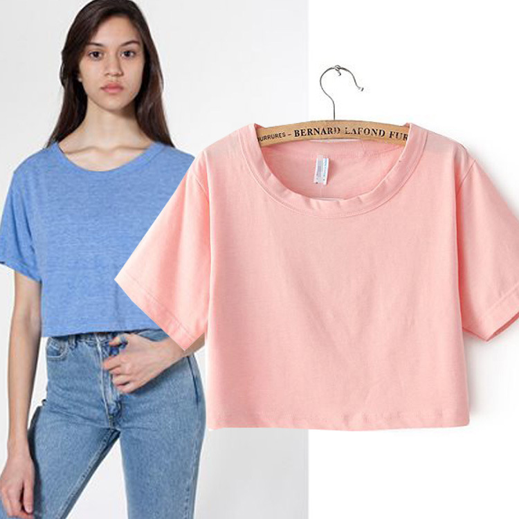 2014 summer T shirt women crop top fluorescent color loose round neck short paragraph retro waist burned casual t shirt 6 colos-in T-Shirts from Apparel & Accessories on Aliexpress.com