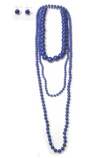 Womens Vanessa Layered Bead Necklace with Earrings in Blue | Pop Couture