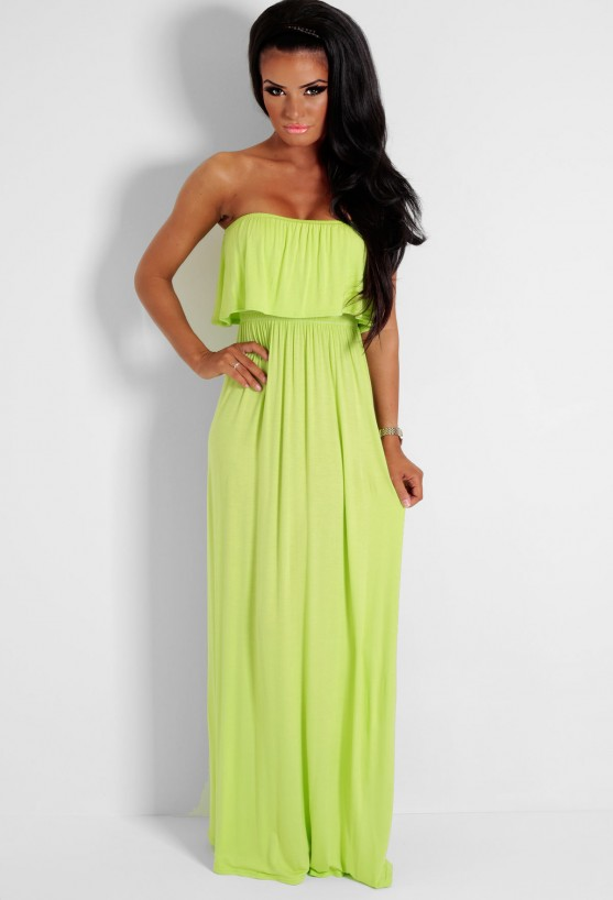 Lime Green Strapless Overlay Maxi Dress | Pink Boutique