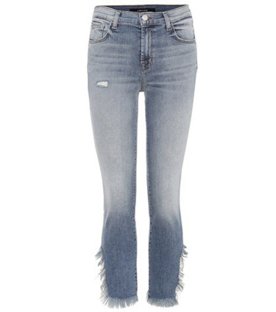 J Brand Ruby high-waisted cropped jeans in blue