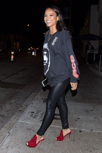 sweater sweatshirt mules pants karrueche top shoes