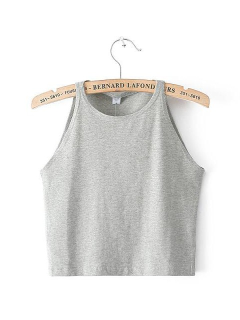 Summer slim sexy retro stylish sleeveless round neck solid color exposed navel vest
