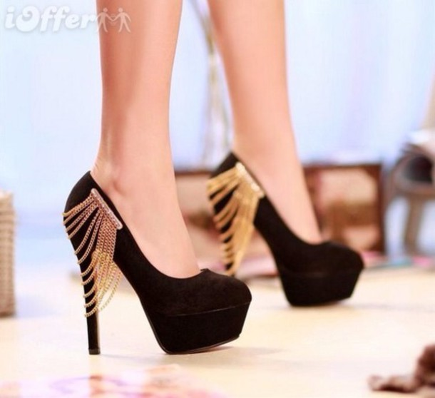 Shoes: high heels, suede shoes, gold chain, platform shoes, black ...