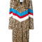 Msgm - striped leopard print coat - women - rabbit fur/polyester - 42, brown, rabbit fur/polyester