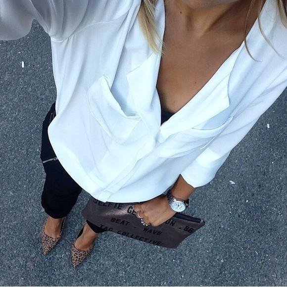 white shirt blouse white blouse watch silver watch silver high heels leopard print