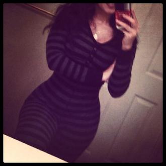 jumpsuit stripes striped onesies tight black grey