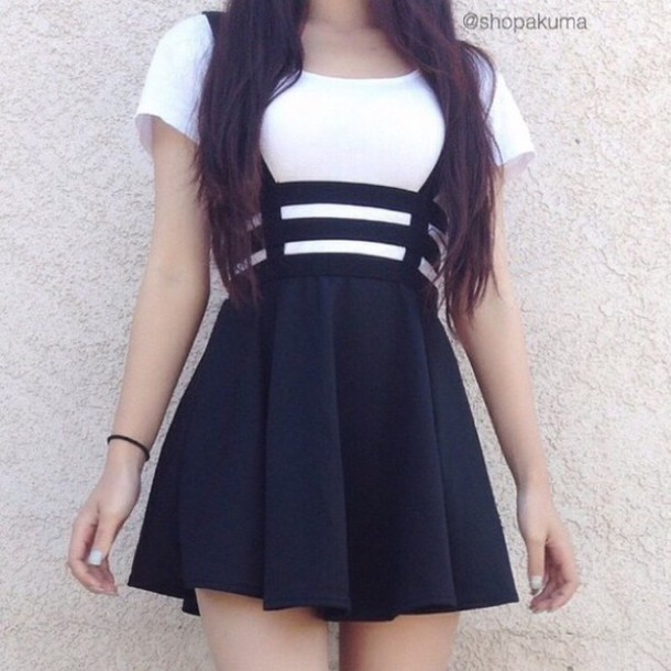 Skirt dress black skirt white top white dress black dress grunge indie tumblr straps ...