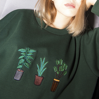 sweater green fashion long sleeves plants style trendy cool fall outfits boogzel