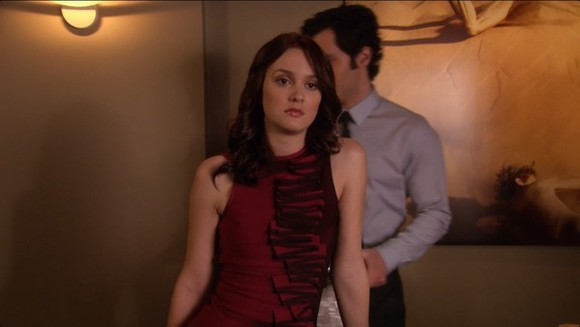 dress gossip girl blair waldorf black red half and half half