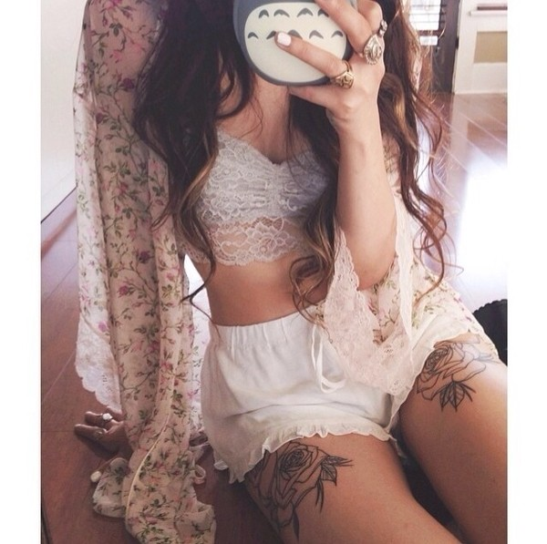 shorts lace trim white shorts underwear cardigan cream shorts sweater blouse flower cardigan see through flowers top kimono ring phone cover