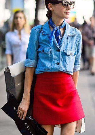 skirt red mini skirt mini skirt red skirt shirt summer outfits blue shirt denim shirt bandana sunglasses tortoise shell sunglasses streetstyle jewels bandana print scarf choker necklace accessories accessory trendy style