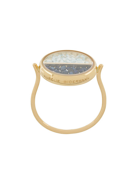 AURELIE BIDERMANN women ring gold grey metallic jewels
