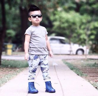 shoes haircut mohawk grey gray blue joggers camoflauge joggers guys army pants camouflage camo pants boots combat boots swag style fashion toddler kids fashion kids with swag