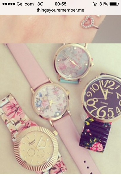 jewels pink gold flora watch