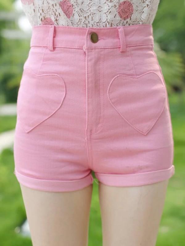Pink Love High Waist Cotton Shorts Elastic Free shipping · HIMI ...