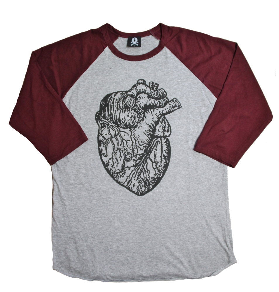 Burgundy Heart Raglan | Acid Reign