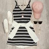 dress,fitted bodysuit,tight,black and white,black dress,stripes,striped dress