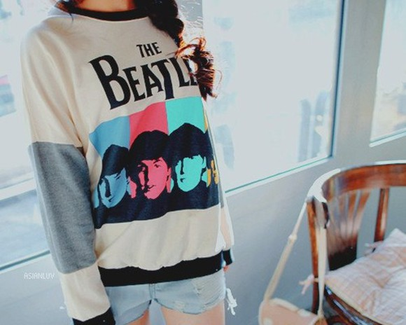 blouse black and white blouse white blouse blouse the beatles