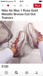 shoes,pink,air max,bronze,nike air max 1,rose gold nike air,rose gold,nike shoes,nike air,skyhighdunks,nike air max 1 rose gold,gold rose,metallic shoes,nike