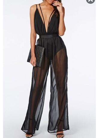 jumpsuit black jumpsuit sheer see through black v neck fashion sexy