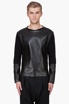 Yves Saint Laurent Black Plongé Leather Panel Sweater for men | SSENSE