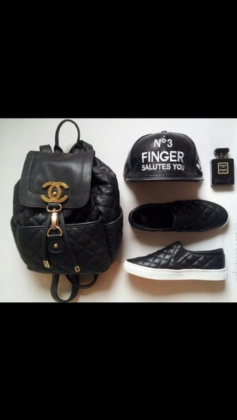 bag black backpack leather chanel shoes hat