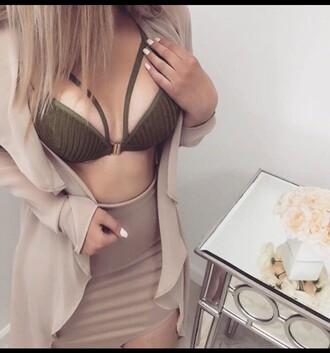 top crochet top green sexy top bra