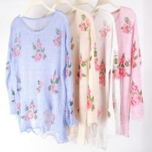 On Sale!only 3 Days!Vintage Rose Ripped Sweater Knit on Luulla