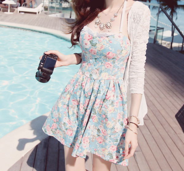dress kawaii floral floral summer dress ulzzang kfashion flowers printed dress light blue floral dress sweetheart neckline ruffle short dress