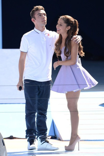 dress ariana grande purple dress skater dress skater skirt fashion