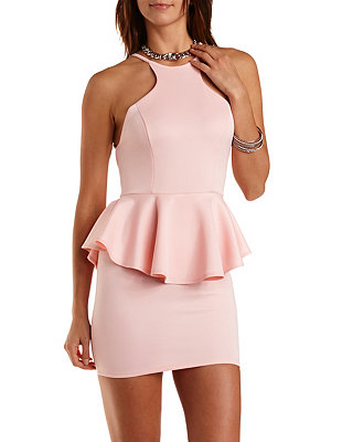 Racer front backless peplum dress: charlotte russe