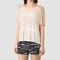 Allsaints us: womens slash shoulder tie dye top (pink/chalk white)