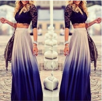 skirt maxi skirt ombre fashion style summer spring boho white spring outfits blue festival free vibrationz