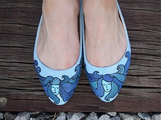 shoes ballet flats light blue sea girly waves beach prom shoes handmade