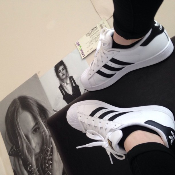 Adidas Superstar Shoes White Black